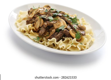 beef stroganoff with pasta, russian cuisine isolated on white background