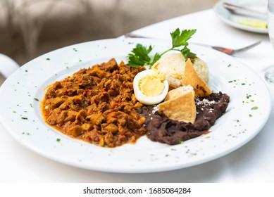 Beef Tenderloin (Lomito de Valladolid) cooked Yucatan style, Mexican food