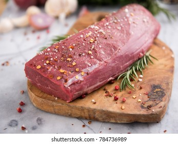 Beef Tenderloin with Salt and Pepper and Fresh Rosemary