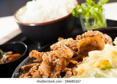 beef teriyaki set, a set menu beef teriyaki with salad rice and soup Japanese food