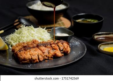 Beef Tonkatsu deep fried cutlet Homemade Japanese with Miso soup and Tonkatsu Sauce, Japanese food style