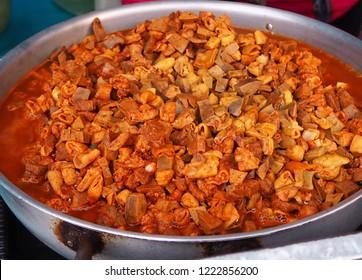 Beef tripe stew in stainless pod, Guatita or Mondongo, Ecuadorian food