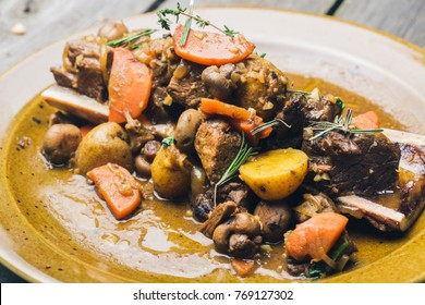 Beef and vegetable stew with potatoes close-up