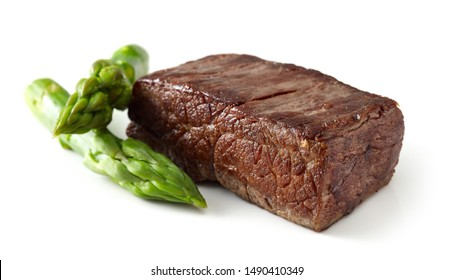 beef wagyu steak meat and asparagus isolated on white background, selective focus