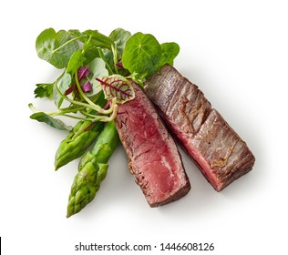 beef wagyu steak meat with herbs and asparagus isolated on wight background, top view