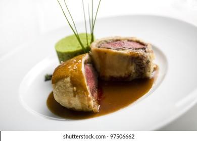 Beef Wellington serving close up, Beef Wellington