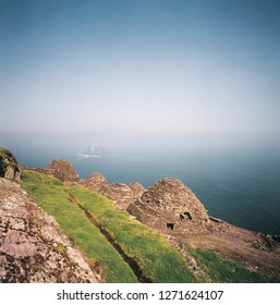 The beehive huts circa 800 AD on the top of Skellig Michael off the coast of county Kerry, Ireland. Star Wars film location