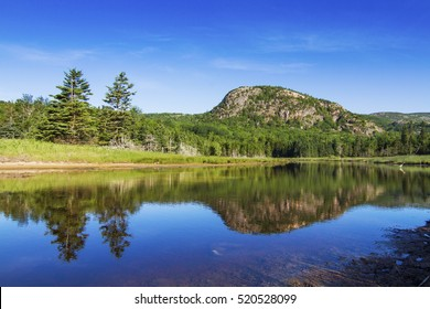 The Beehive mountain reflection in Acadia National Park