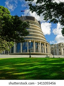THE BEEHIVE PARLIAMENT BUILDING, WELLINGTON/NEW ZEALAND - MAY 25, 2019: [NEW ZEALAND PARLIAMENT BUILDING, KNOWN AS THE BEEHIVE, WELLINGTON NEW ZEALAND.]