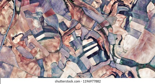 Beehive, tribute to Picasso, abstract photography of the Spain fields from the air, aerial view, representation of human labor camps, abstract, cubism, abstract naturalism,