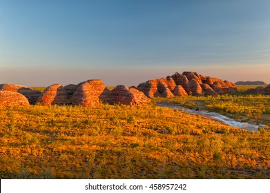 Beehives and Piccaninny Creek in warm evening light, Bungle Bungles National Park, Northern Territories, Australia