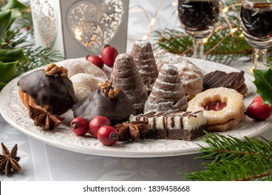 Beehives or wasp nests and other typical Czech Christmas cookies arranged on a plate on a table