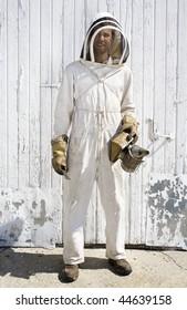 Beekeeper dressed in white hooded suit