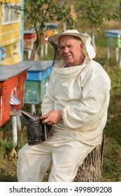 beekeeper sitting on a tree near the hive