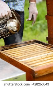 Beekeepers blowing smoke from the smoker on the honeycomb frame
