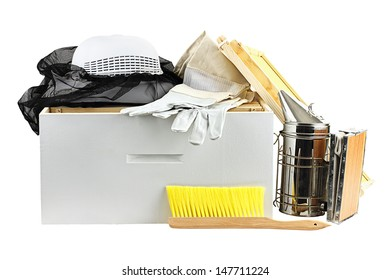 Beekeeping equipment isolated on a white background with clipping path included.