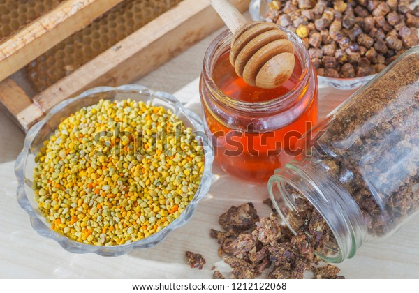 Beekeeping products - bee honey, propolis and pollen. Useful products are used in traditional medicine.