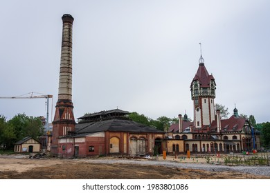 BEELITZ, GERMANY - MAY 23, 2021: Complex of thermal power plant buildings built in 1898-1902. Since 1996, the building has been preserved as a technical monument and is used as a museum.