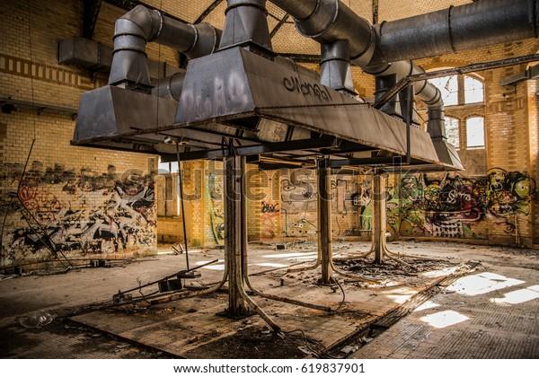 BEELITZ - MARCH 2017: Abandoned hospital and sanatorium Beelitz Heilstätten near Berlin, Beelitz, Germany