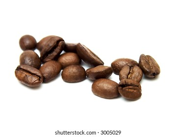 beens of coffee on the white background