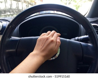 Beeping car driver among traffic jam