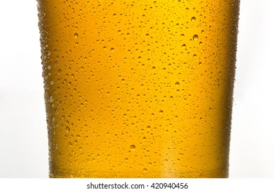 beer background glass with dew on surface