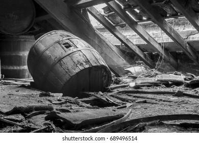 Beer barrel half through floor