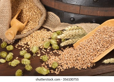 Pentol indonesian special food stock photo royalty free 729488137 beer barrel with hops wheat grain barley and malt altavistaventures Image collections