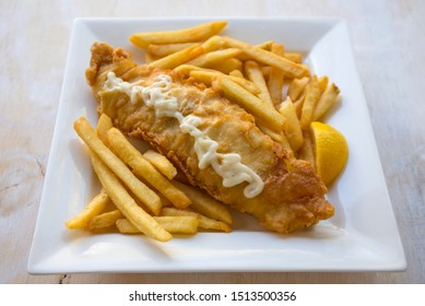 Beer battered Barramundi fish and chips