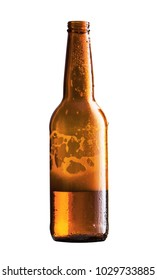 beer bottle is about half empty isolated white background