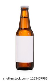 Beer bottle with blank label on white, contains clipping path