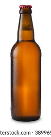beer in bottle of brown glass with drops isolated on white background