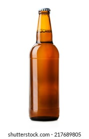 beer bottle brown isolated on white background