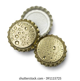 beer bottle cap close up macro Isolated on white background. with clipping path