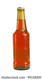 Beer bottle with drops isolated on white