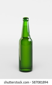 Beer bottle glass mockup isolated. 3D illustration. High quality