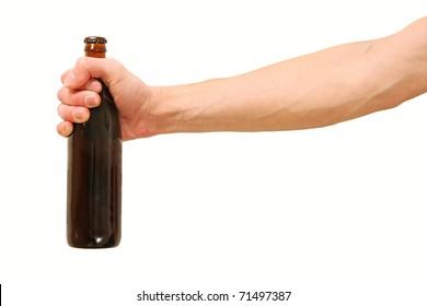 Beer bottle in the hand