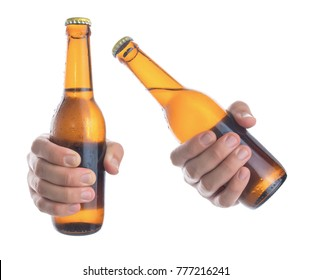 Beer bottle in the hand isolated on white background,Front view