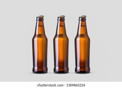 Beer Bottle Mock-Up isolated on soft gray background.High resolution photo.