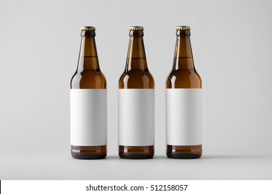 Beer Bottle Mock-Up - Three Bottles. Blank Label
