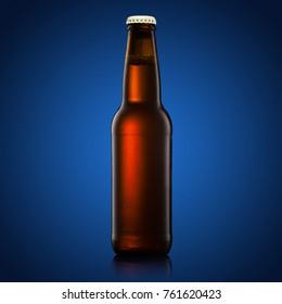 beer bottle on a blue background
