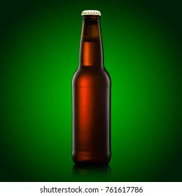 beer bottle on a green background