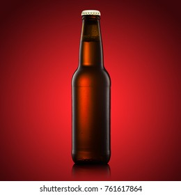 beer bottle on a red background