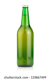 A beer bottle on a white background. (Isolated)