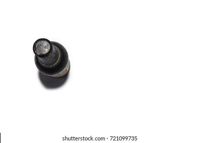 Beer bottle  on white background(top view)(view from above).