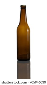 Beer bottle is standing on a white background