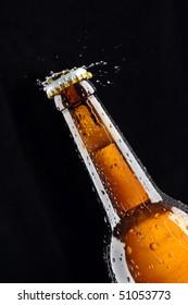 Beer Bottle water splash