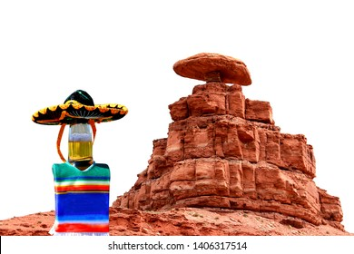 Beer bottle wearing a sombrero hat and poncho at Mexican Hat, Utah.
