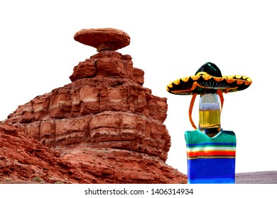 Beer bottle wearing a sombrero and poncho at Mexican Hat, Utah.