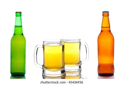 beer bottles and glass of beer